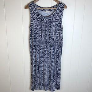 LL Bean Blue/White Dress w/ Geometric Print